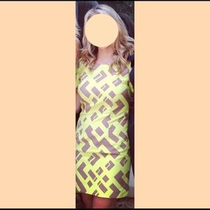 Tracy Reese Geometric Neon Yellow / Tan Dress